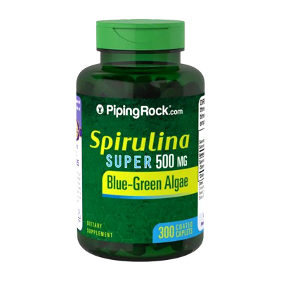 PIPING ROCK 螺旋藻片500mg 300片排毒促進腸胃蠕動養顏提升免疫力【美國直郵】