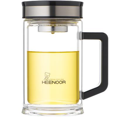 希诺双层玻璃杯带把滤网泡茶杯子办公喝水杯子简约透明家用水杯