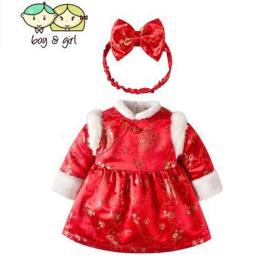 宝宝新年装女洋气中国风女童拜年服冬加厚过年婴儿公主裙儿童唐装
