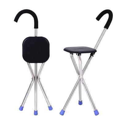 拐杖椅子拐棍老人手杖四腳多功能帶凳子折疊防滑的老年人可坐拐扙