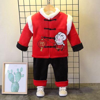 唐装儿童中国风新年男女宝宝童装衣服拜年服小女孩周岁礼服套装冬凝骢