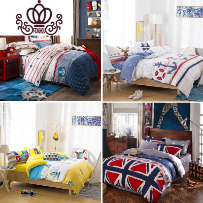 封后FENGHOU純全棉四件套歐美式英倫地中海風格兒童小孩房床上用品被套床單罩 FENGHOU套件定制