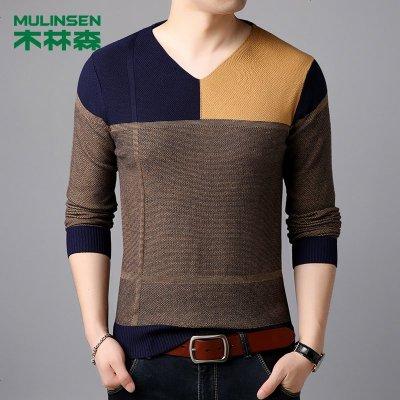针织衫男长袖拼接线衣装秋冬季新款男士打底年毛衣潮流
