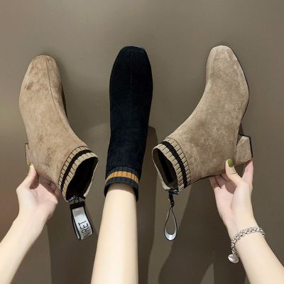 小短靴女2020新款秋季百搭大碼韓版復古簡約粗跟高跟網紅瘦瘦靴潮 莎丞 莎丞(SHACHEN)