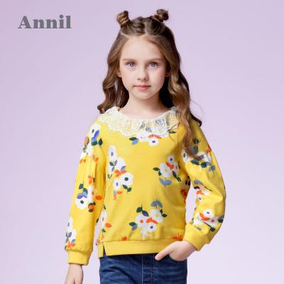 安奈儿童装女童长袖卫衣时尚蕾丝花边翻领春装新款女孩T恤潮