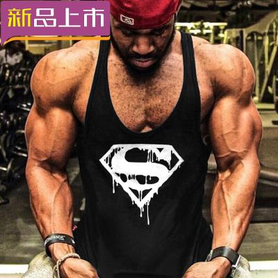 健身背心寬松健美運動吊帶工字訓練簡約背心T恤吸汗肌肉 黑CR超人 XXL