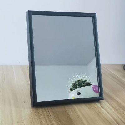 鋁合金邊框浴室鏡子化妝鏡衛生間自粘貼墻壁掛梳妝鏡洗手間大鏡子 16*20厘米【邊框顏色隨機發】