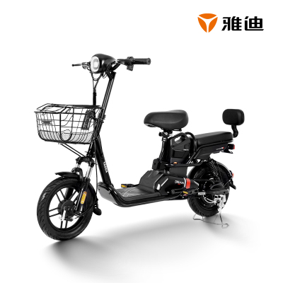 雅迪新款小輕新精致版可提鋰電48V輕巧新國標電動自行車 新油光黑