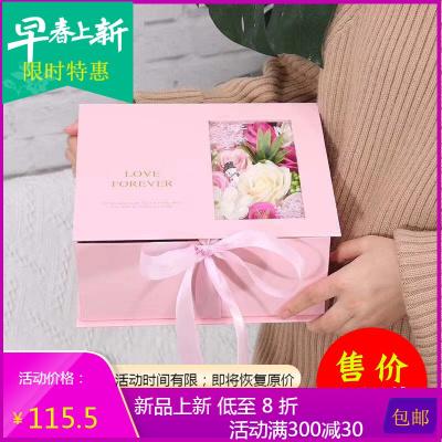 滿緣花藝盒新款鮮花禮品包裝盒七夕情人節盒翻蓋情書盒神秘盒