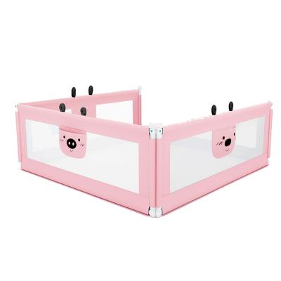 【發順豐】KDE嬰兒童大床護欄床欄桿床邊護欄床擋板寶寶床圍欄防摔防掉垂直升降 2米+2米+1.8米 粉色新款三面裝
