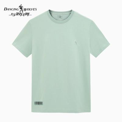 與狼共舞男士春夏季休閑舒適棉圓領冰瓷棉短袖T恤衫