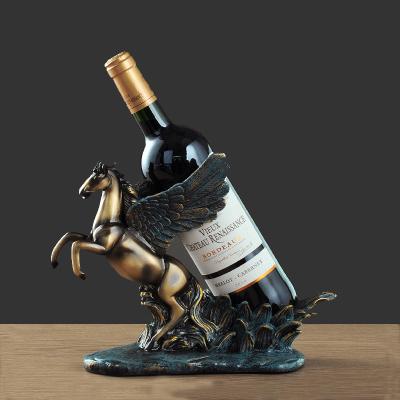歐式創意飛馬紅酒架擺件家居飾品現代簡約家用客廳酒柜裝飾品禮物