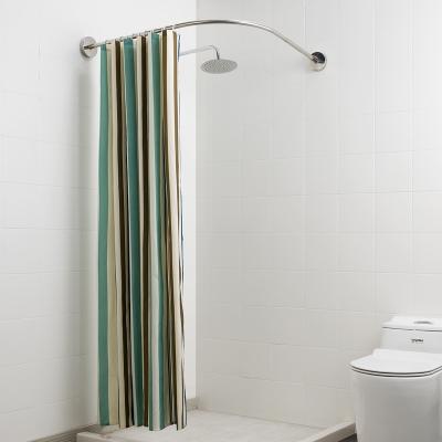 閃電客加厚浴簾套裝免打孔伸縮弧形浴簾桿衛生間掛簾布浴室隔斷簾子防水