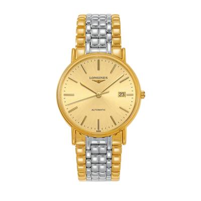 浪琴(Longines)瑰麗系列全金大表盤男士自動機械正裝時尚手表L4.921.2.32.7 金色表盤