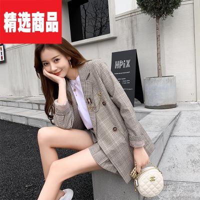 2019新款女裝2019新款復古格子灰色西裝外套女韓版修身小勛章西服DAD 咖色1008上衣 S