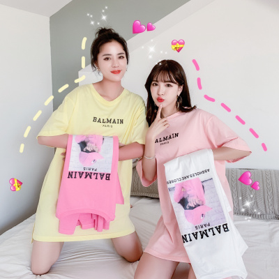 愫惠君2020夏季新款中長T恤字母印花時尚寬松糖果色短袖上衣H-GY2288A86160