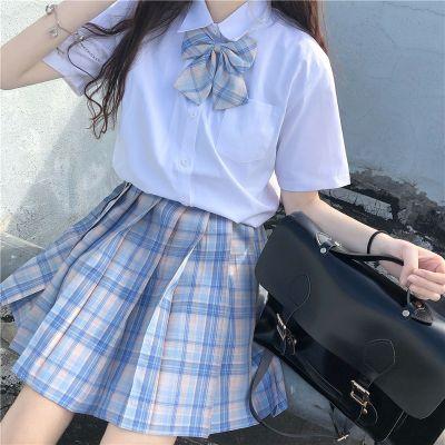 夏季2020新款日系學院風JK制服寬松蝴蝶結洋氣短袖襯衫女時尚套裝 莎丞