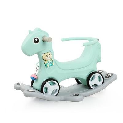 木马儿童摇马摇摇马婴儿宝宝玩具加厚大号摇椅马两用摇摇车滑行车颜色随机