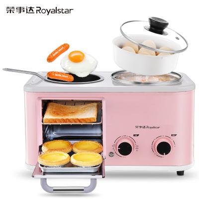 榮事達(Royalstar)多功能早餐機RS-KG12A(粉色)烤面包機家用多士爐三明治機吐司機電烤箱多功能用途鍋電煮鍋