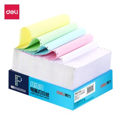得力deli電腦打印紙241-3 三聯(3層)二等分 送貨單出庫單憑證清單彩色可撕邊1000張/包