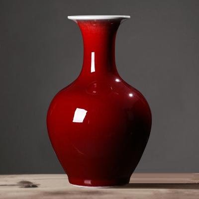 古笙記 景德鎮瓷器陶瓷郎紅插花瓶擺件新中式家居客廳酒柜裝飾品擺設瓷瓶