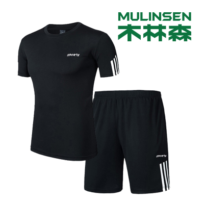 木林森(MULINSEN)春秋男士速干衣褲套裝男款舒適透氣運動短袖五分褲套裝健身套裝