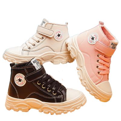 加絨時尚童靴子包頭防踢高幫男女兒童學生鞋英倫馬丁靴運動鞋