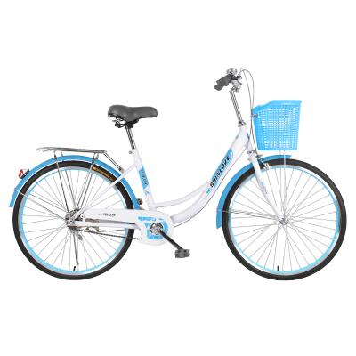 自行車普通女式輕便復古單速單車成年人學生20/24寸淑女單車復古自行車便攜輕巧輕便腳踏車男女變速腳踏車可帶人