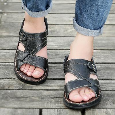策霸CEBA涼鞋男 夏季潮流百搭涼鞋 加厚頭層牛皮沙灘鞋加厚軟底輕便兩用涼拖鞋