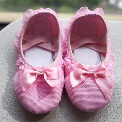 熱賣舞蹈鞋兒童女芭蕾軟底練功幼兒園寶寶紅色花邊公主肉色女童跳舞鞋