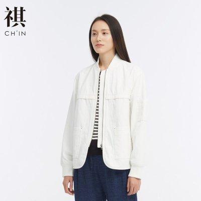 CHIN祺夾克外套女短款早秋裝復古時尚顯瘦百搭bf夾克女款立領