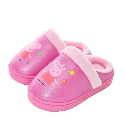 小猪佩奇 Peppa Pig儿童皮质拖鞋包跟棉鞋男童防滑家居鞋女童儿童棉拖鞋8862