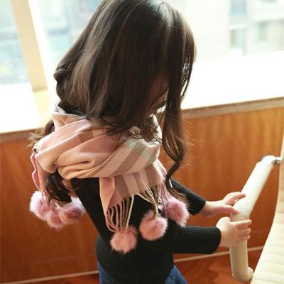 兒童圍巾男童女童小孩韓版冬季男學生女學生圍巾腈綸毛球圍脖 莎丞