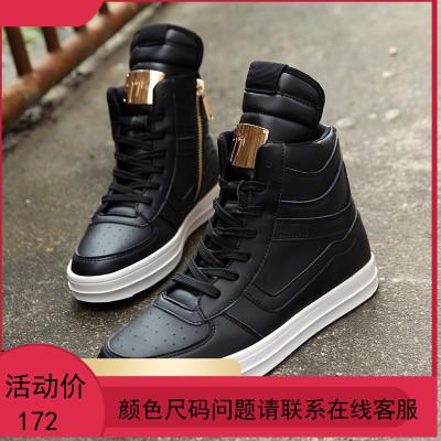 白色高帮鞋男潮秋冬季休闲鞋街舞板鞋男鞋加棉高腰鞋
