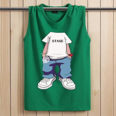 2020新款男無袖T恤運動背心個性卡通學生韓版棉圓領坎袖 衫伊格(shanyige)