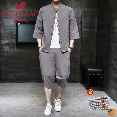 富貴鳥2020年新款夏季唐裝男兩件套復古中國風古風佛系男裝古裝男士亞麻套裝漢服