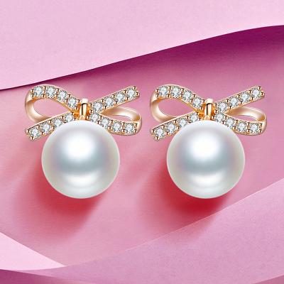 佰色傳情(BRIR)純銀淡水珍珠耳釘女韓版時尚925銀耳環蝴蝶結耳飾