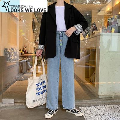 巴羅尚(BaLuoShang)秋冬女裝學生寬松休閑西裝外套女2019款網紅chic中長款黑色小西服