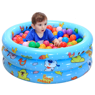 諾澳寶寶海洋球池波波池釣魚池沙池充氣兒童戲水游泳池塑料球池 130cm黃色+50個海洋球