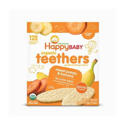 Happy Baby禧貝磨牙餅干48g-香蕉甘薯味 寶寶嬰兒磨牙棒餅干嬰幼兒零食米餅
