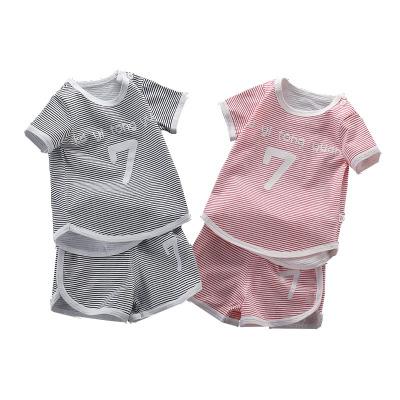 【偏小一碼】口袋虎夏季男童女童嬰幼兒純棉條紋運動套裝夏季短袖短褲常規套裝