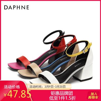 Daphne/達芙妮正品一字帶時尚優雅拼色舒適潮流通勤舒適粗跟涼鞋