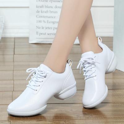 阿乐威春夏季舞蹈鞋女广场舞鞋真皮白色软底水兵舞鞋运动跳鞋 白单鞋 35