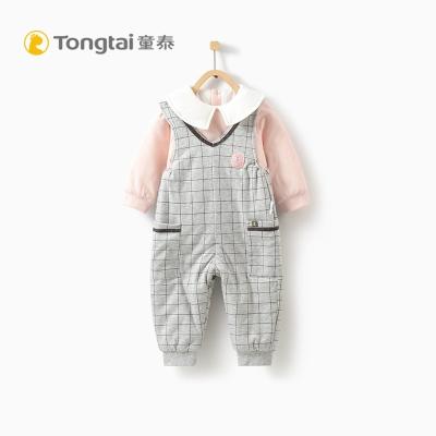 童泰秋冬新款婴儿衣服背带棉衣套装5-24月男女宝宝薄棉翻领两件套