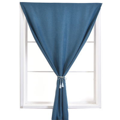 诺罗 简易窗帘魔术贴粘贴 免打孔安装全遮光窗帘成品简约现代出租房卧室飘窗小窗帘纯色短帘