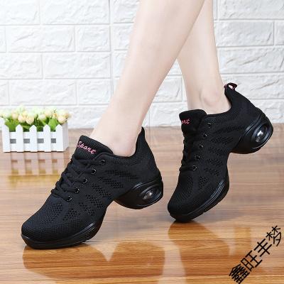 全黑色運動鞋女防滑媽媽鞋純黑軟底上班鞋中跟舞蹈鞋老北京布鞋女