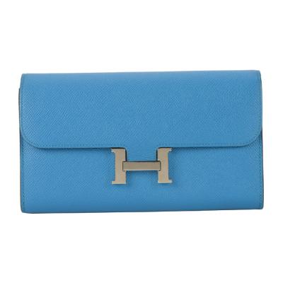 【正品二手95新】 HERMES 藍色EPSOM皮H銀扣長錢包19004259