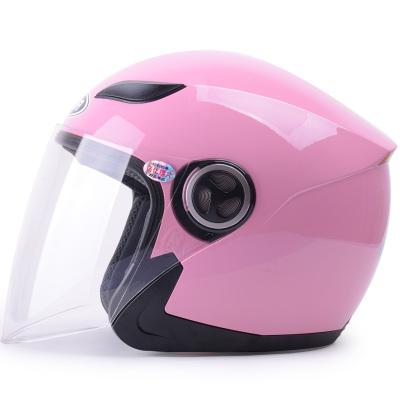 野馬619半覆式男女士電動摩托車頭盔 冬季電動車安全帽 四季通用半盔防霧