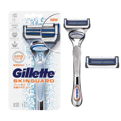 吉列(GILLETTE) SKINGUARD 柔膚推薦云感手動剃須刀刮胡刀 1個刀架+2個刀頭
