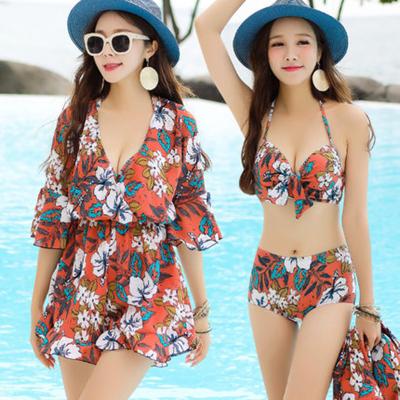 金格尔韩国比基尼气质荷叶边聚拢性感显胸泳衣女三件套分体罩衫温泉泳装
